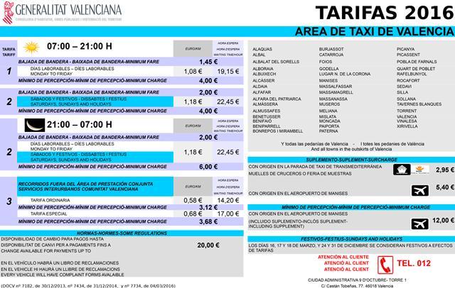 Adhesivo tarifas Valencia 2016