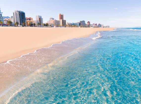 Gandia-playa-nord-beach-shore-in-Valencia-at-Mediterranean-Spain