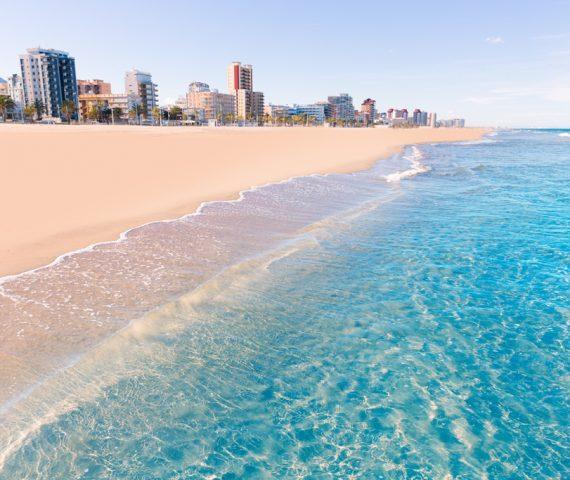 Gandia-playa-nord-beach-shore-in-Valencia-at-Mediterranean-Spain